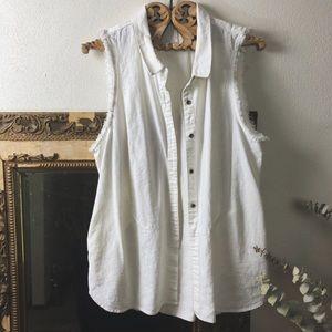 White free people cotton sleeveless shirt vest